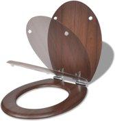 vidaXL WC-bril met soft-close MDF deksel en eenvoudig ontwerp houtkleurig