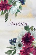 America: Personalized Journal Gift Idea for Women (Burgundy and White Mums)