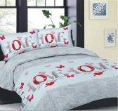 Cotton Club Dekbedovertrek Love & Dreams -  Lits Jumeaux - 240x200/220 cm + 2 kussenslopen 60 x 70 cm