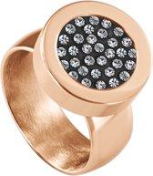 Quiges RVS Schroefsysteem Ring Rosékleurig Glans 18mm met Verwisselbare Zirkonia 12mm Mini Munt
