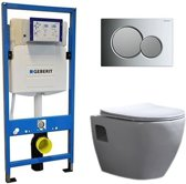 Geberit UP 320 Toiletset – Inbouw WC Hangtoilet Wandcloset – Daley Flatline Geberit Sigma-01 Chroom/mat Chroom