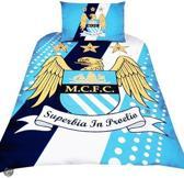 Manchester City FC dekbedovertrek - Blauw - 1-persoons + 1 sloop)