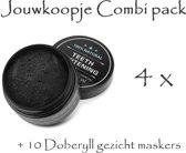 (Combi Pack) Tandenbleek activerende charcoal 4 STUKS +10 Doberyl gezichtmaskers