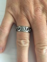 Petra's Sieradenwereld - RVS ring zilverkleurig met ketting maat 20 (109)