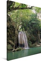 De watervallen die 1500 meter beslaan in het Thaise nationaal park Erawan Canvas 90x140 cm - Foto print op Canvas schilderij (Wanddecoratie woonkamer / slaapkamer)
