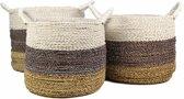 HSM Collection Mandenset Malibu - naturel/paars/wit - raffia/zeegras - set van 3