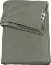 Meyco wiegdeken Knit basic met velvet - 75x100 cm - forest green