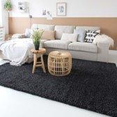 Hoogpolig vloerkleed shaggy Trend effen - antraciet 100x200 cm
