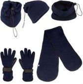 Blauw fleece set - M - muts/col sjaal handschoenen
