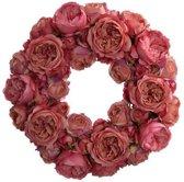 Viv! Home Luxuries Krans van Engelse rozen - zijden bloem - roze - 42cm - topkwaliteit