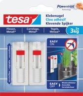 12x Tesa Klevende Spijker voor Tegels en Metaal, verstelbaar, draagvermogen 3 kg, blister a 2 stuks