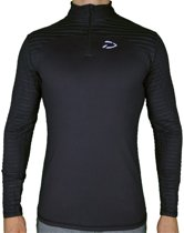 Fitness T-Shirt met Lange Mouwen en Rits   Donker Grijs - Disciplined Apparel