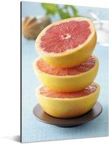 Een stapel grapefruit in een kom Aluminium 20x30 cm - klein - Foto print op Aluminium (metaal wanddecoratie)