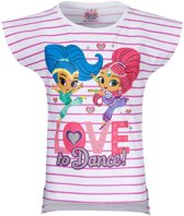 Shimmer and Shine T-Shirt - Wit/gestreept - Maat 110/116