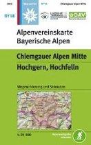 Wanderkarte BY 18 Chiemgauer Alpen Mitte, Hochgern, Hochfelln, mit Wegmarkierungen und Skirouten 1:25 000