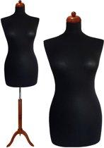 Zwarte paspop met donker bruine driepoot 36/38