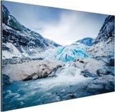 Briksdal gletsjer Aluminium 120x80 cm - Foto print op Aluminium (metaal wanddecoratie)