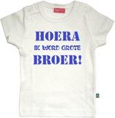 T-shirt korte mouw   Hoera! ik word grote broer  wit   maat 98/104