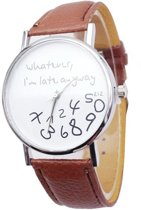 Whatever I'm Late horloge bruin