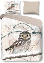 Snoozing Snowy Owl - Flanel - Dekbedovertrek - Tweepersoons - 200x200/220 cm + 2 kussenslopen 60x70 cm - Sand
