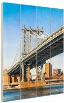 Manhattan brug in New York City Hout 60x80 cm - Foto print op Hout (Wanddecoratie)
