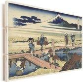 Nakahara in de provincie Sagami - Schilderij van Katsushika Hokusai Vurenhout met planken 30x20 cm - klein - Foto print op Hout (Wanddecoratie)