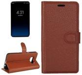 Samsung Galaxy S8 - Litchi Wallet Case - Bruin