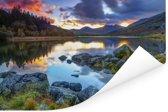 Erg kleurrijke lucht en omgeving in Snowdonia Poster 90x60 cm - Foto print op Poster (wanddecoratie woonkamer / slaapkamer)