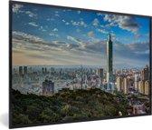 Foto in lijst - Zonsondergang bij de Taipei 101 in Taiwan fotolijst zwart 60x40 cm - Poster in lijst (Wanddecoratie woonkamer / slaapkamer)