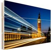 De Big Ben met een lichtstraal in Londen Vurenhout met planken 30x20 cm - klein - Foto print op Hout (Wanddecoratie)