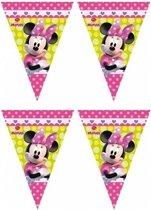 2x Disney Minnie Mouse vlaggenlijnen themafeest 280 cm - Kinderfeestje partijtje feestslingers