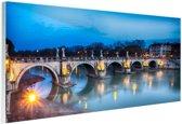 Verlichte brug in Rome Glas 90x60 cm - Foto print op Glas (Plexiglas wanddecoratie)