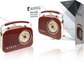 König - Retro Design AM / FM Tafelradio - Bruin