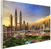 Kuala Lumpur stadscentrum zonsondergang Hout 80x60 cm - Foto print op Hout (Wanddecoratie)