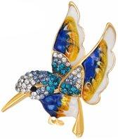 Fako Bijoux® - Broche - Vogel - 42x41mm - Blauw