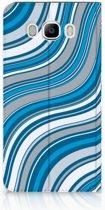 Samsung Galaxy J7 2016 Standcase Hoesje Design Waves Blue