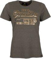 Superdry Vintage Logo Deboss Entry  Sportshirt - Maat L  - Vrouwen - army groen/goud