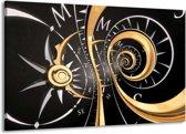 Canvas schilderij Abstract | Zwart, Goud, Wit | 140x90cm 1Luik