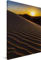 Zonsondergang over de zandduinen in de woestijn van de Sahara in Marokko Canvas 80x120 cm - Foto print op Canvas schilderij (Wanddecoratie woonkamer / slaapkamer)