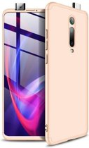 Teleplus Xiaomi Mi9T Case 360 Ays Hard Rubber Cover Gold + Nano Screen Protector hoesje