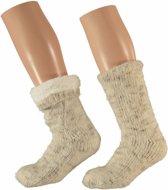 Beige dames huissokken - maat 36-41 - slofsokken / antislip sokken
