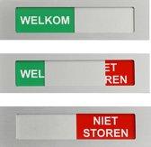 Schuifbordje kantoor welkom niet storen XL. Welkom niet storen deurbordje 170 mm x 42 mm. Bevestiging 3M plakstrip.