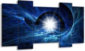 Canvas schilderij Abstract | Blauw, Wit, Zwart | 120x65 5Luik