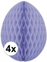 4x Decoratie paasei lila 20 cm - Paasversiering / Paasdecoratie
