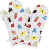 by Sorcia - ovenwanten Colourfull Insects - 2 stuks - 17x31cm - katoen - designed in Holland