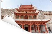 De schitterende tempel van de Grotten van Mògāo van dichtbij in China Tuinposter 180x120 cm - Tuindoek / Buitencanvas / Schilderijen voor buiten (tuin decoratie) XXL / Groot formaat!