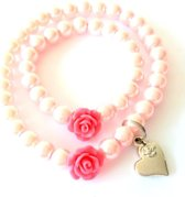 Jewellicious Designs Pink Pearls & Coral Rose Moeder & Baby Girl armbandenset