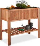 Minigarden dennenhout met plank - kweektafel - bloembak op poten