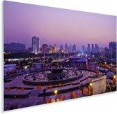 Paarse tinten in en boven de Chinese stad Jinan Plexiglas 30x20 cm - klein - Foto print op Glas (Plexiglas wanddecoratie)