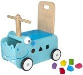 I'm Toy -  Houten Loopwagen met blokken - Nijlpaard